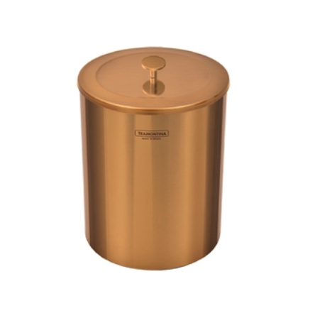 Lixeira Útil com Tampa em Aço Inox com revestimento especial a base de verniz - 5L - Gold - Tramontina