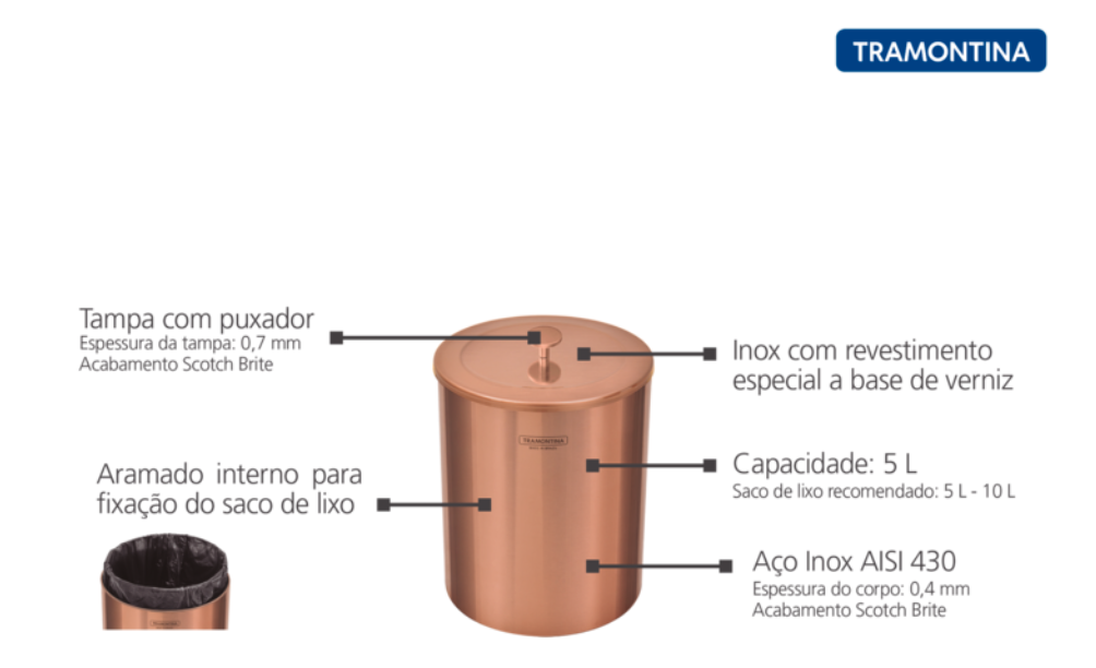 Lixeira Útil com Tampa em Aço Inox com revestimento especial a base de verniz - 5L - Rose Gold - Tramontina
