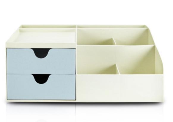 Organizador de Mesa Multifuncional com 2 Gavetas Azul - Lifestyle - Jacki Design