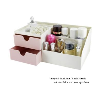 Organizador de Mesa Multifuncional com 2 Gavetas Rosa - Lifestyle - Jacki Design