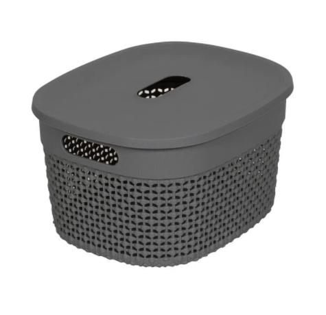 Organizador Plástico c/ tampa Cinza concreto - 12L - Astra