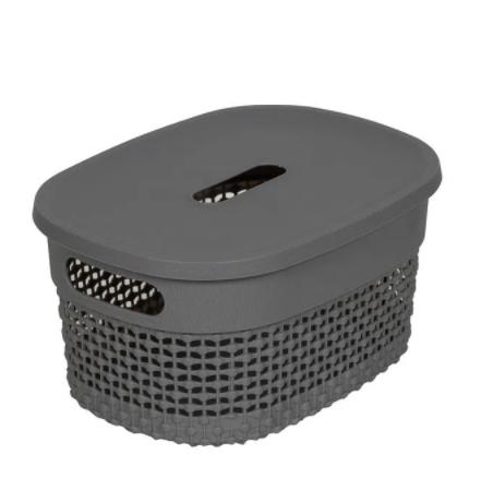 Organizador Plástico c/ tampa Cinza concreto - 6L - Astra
