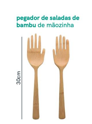 Pegador de Saladas de Mãozinha de Bambu - Oikos