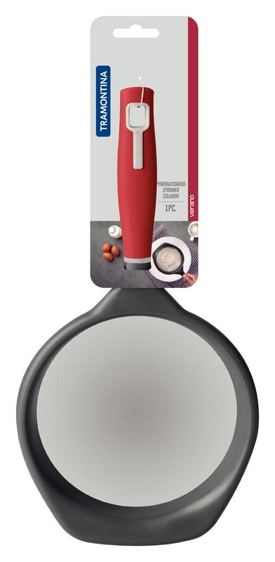 Peneira em Aço Inox e Cabo em Polipropileno Vermelho 17cm - Verano - Tramontina