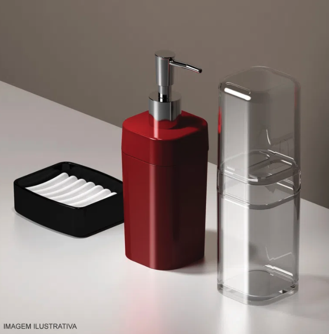 Porta Sabonete Líquido e Álcool Gel  - Branco - Splash - Coza