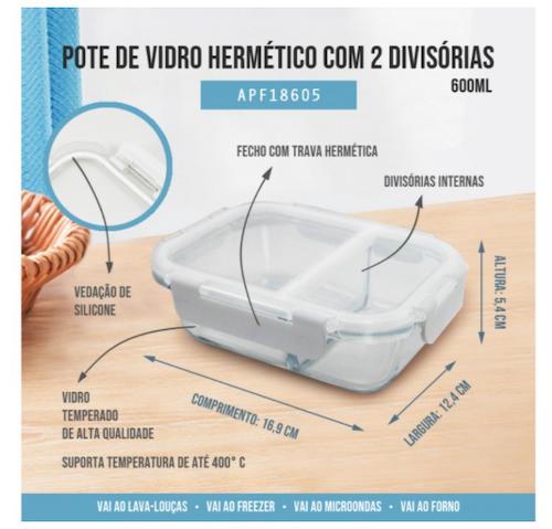 Pote de Vidro Hermético c/ 2 divisórias (P) 600ml - Fitness - Jacki Design