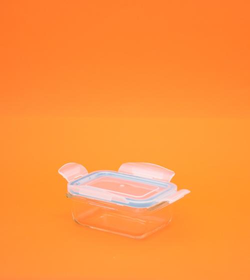 Pote de Vidro retangular com Tampa transparente - 330ml - Oikos