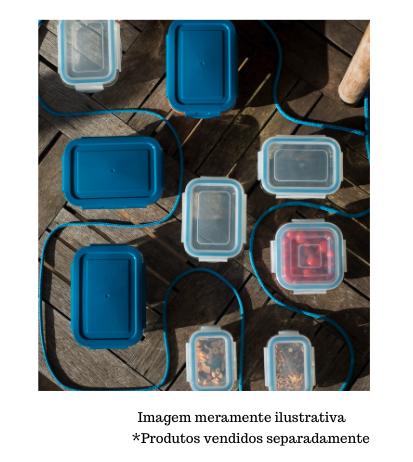 Pote de Vidro retangular com Tampa transparente - 840ml - Oikos