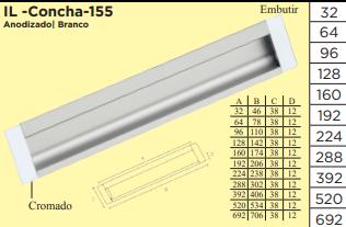 Puxador de Embutir em Alumínio - IL Concha 155 - Italy Line