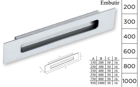 Puxador de Embutir em Aço inox polido - IL Concha 160 - Italy Line