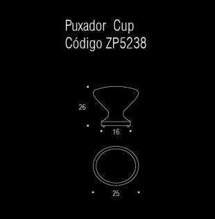 Puxador p/ móveis, armários e gavetas em Zamac - Cup - Zen