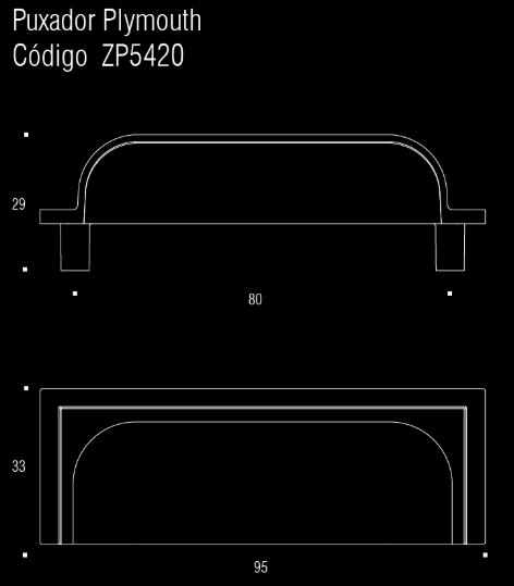 Puxador p/ móveis, armários e gavetas em Zamac - Plymouth - Zen