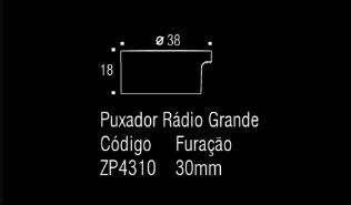 Puxador p/ móveis, armários e gavetas em Zamac - Rádio - Grande  - Zen