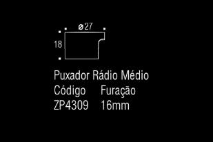 Puxador p/ móveis, armários e gavetas em Zamac - Rádio - Médio - Zen