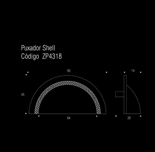 Puxador p/ móveis, armários e gavetas em Zamac - Shell - 64mm - Zen