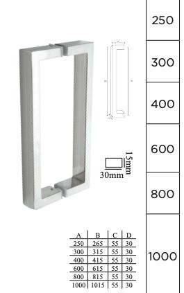 Puxador para Porta em Aço inox polido - DF 905-202 - Italy Line