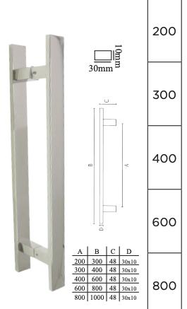 Puxador para Porta em Aço inox polido - DF 933-202 - Italy Line