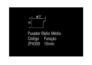 Puxador Rádio Médio - Níquel Escovado c/ Verniz - Zen Design