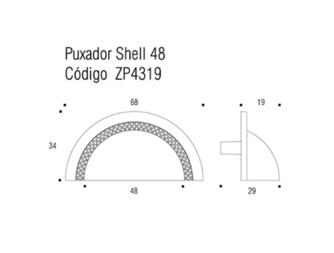 Puxador Shell 48mm - Níquel Velho - Zen Design