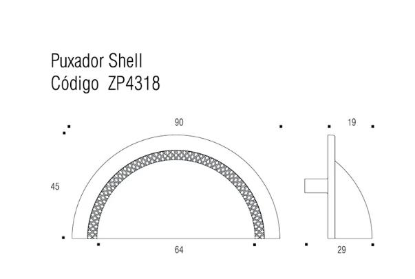 Puxador Shell 64mm - Níquel Escovado c/ Verniz - Zen Design