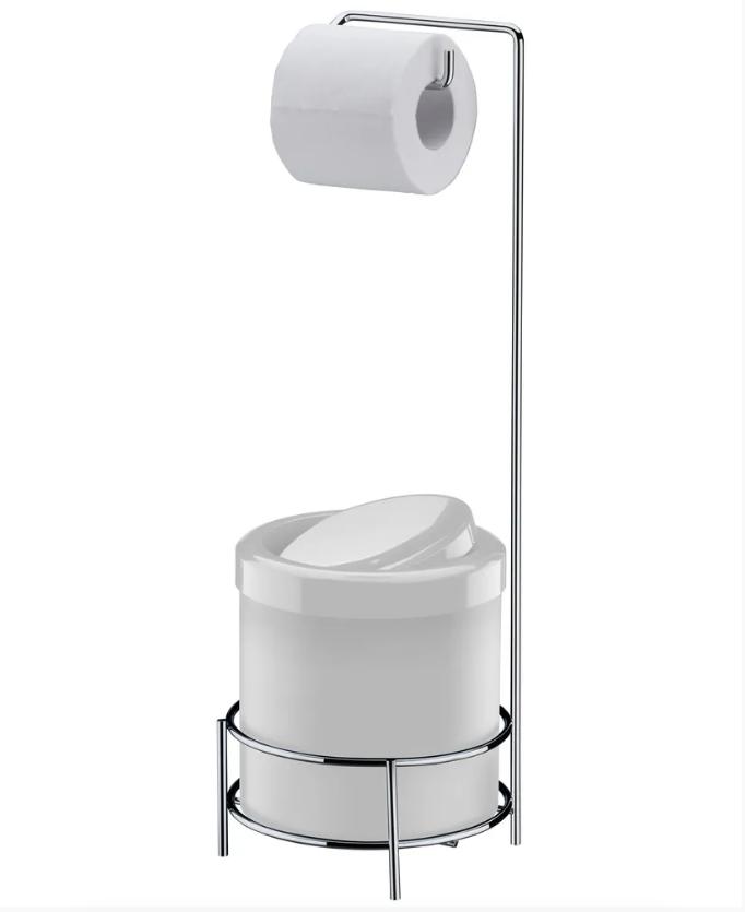 Suporte para Papel Higiênico com Lixeira Branca 5 Litros - Future