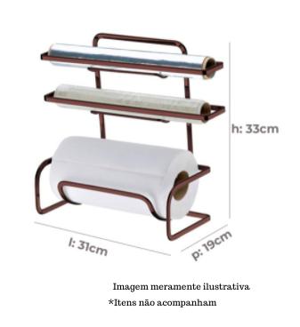 Suporte para Rolos de Papel Toalha/Alumínio/PVC - Bronze - Future