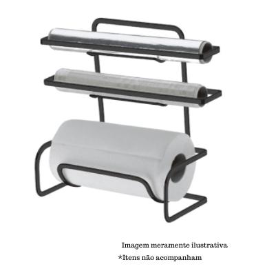 Suporte para Rolos de Papel Toalha/Alumínio/PVC - Ônix - Future