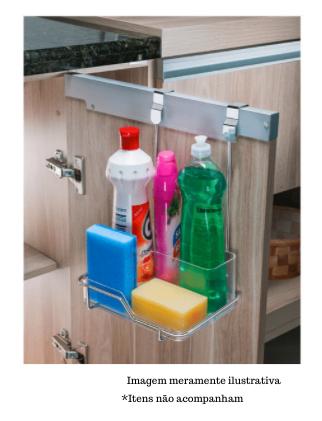 Suporte para Sabão/Detergente e Esponja para Porta de Armário - Cromado - Future
