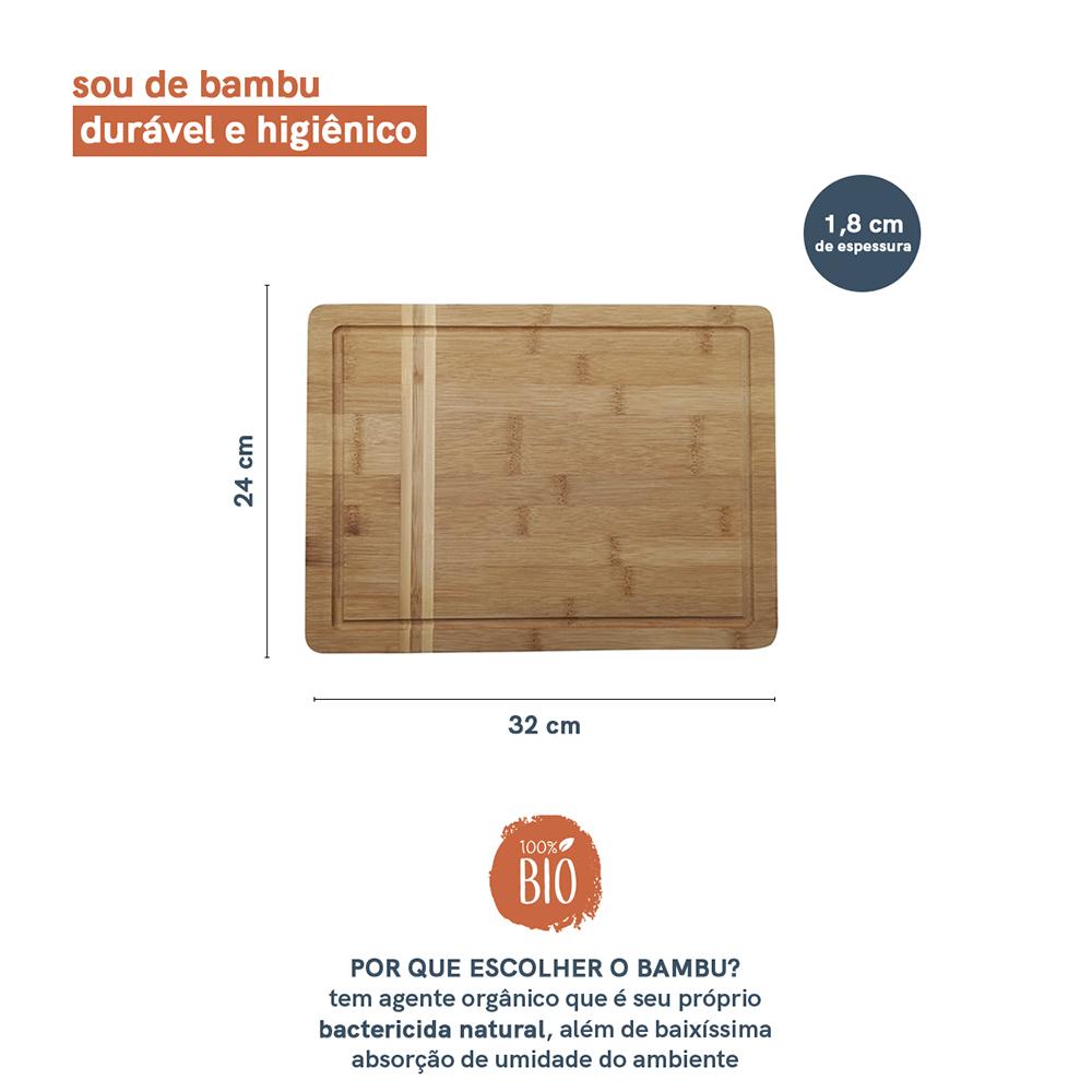 Tábua de Churrasco de Bambu Natural - 32X24 - Oikos