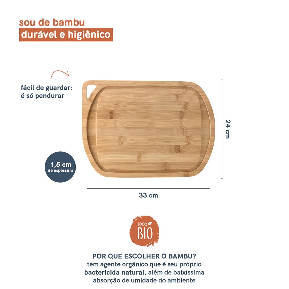 Tábua de Churrasco de Bambu Natural com Alça - 33X24 - Oikos