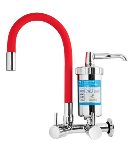 Torneira Gourmet de Parede com filtro 1/2 - Vermelha - 4473 C-59 - Gourmet colors - Kelly metais