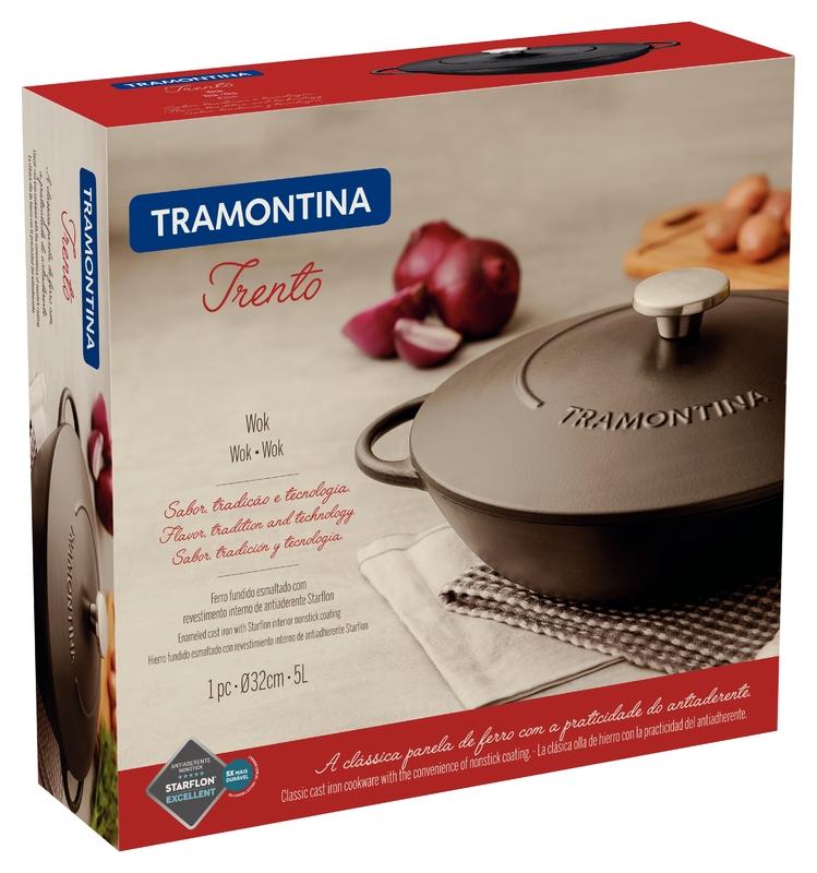 Wok em Ferro Esmaltado e Revestimento Antiaderente 32cm/5L Preto Trento - Tramontina