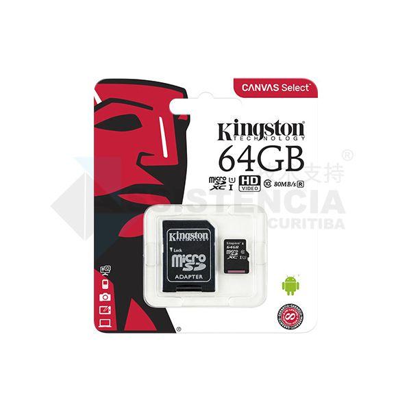 Cartão De Memória Micro Sd Kingston Canvas Select 64Gb