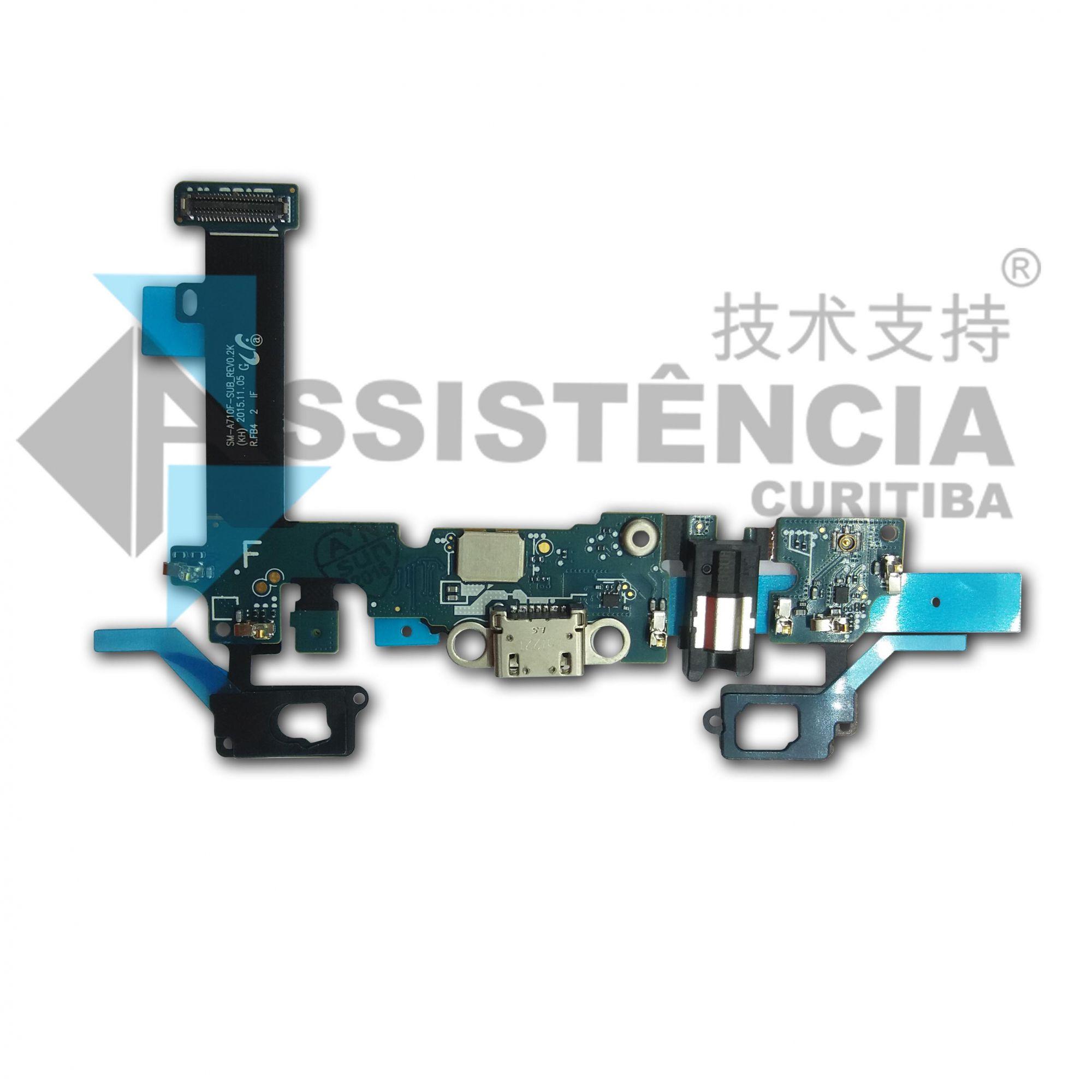 Flex Conector De Carga Fone Mic. Botão Home Samsung Galaxy A7 A710F Versão F Original