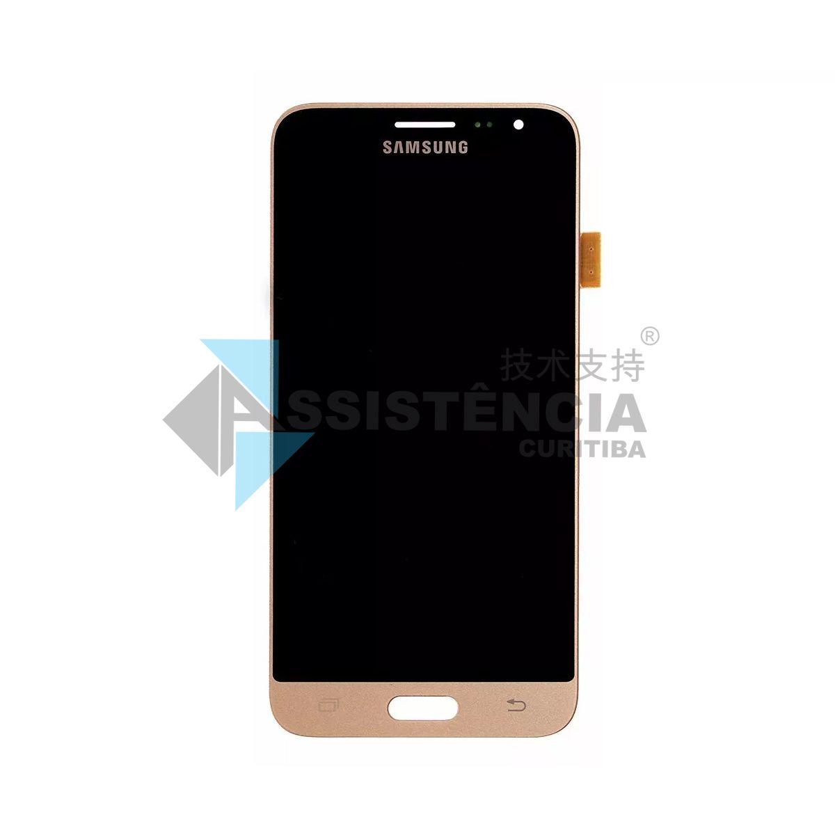 Tela Display Samsung Galaxy J3 J320 Sm-J320 2016 / J300 Sm-J300 Com Brilho Dourado