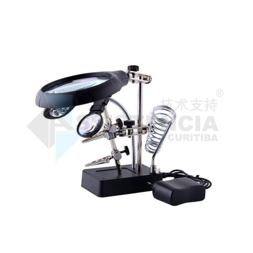 Lupa Com Suporte De Garra E Ferro De Solda Magnifier Te-800