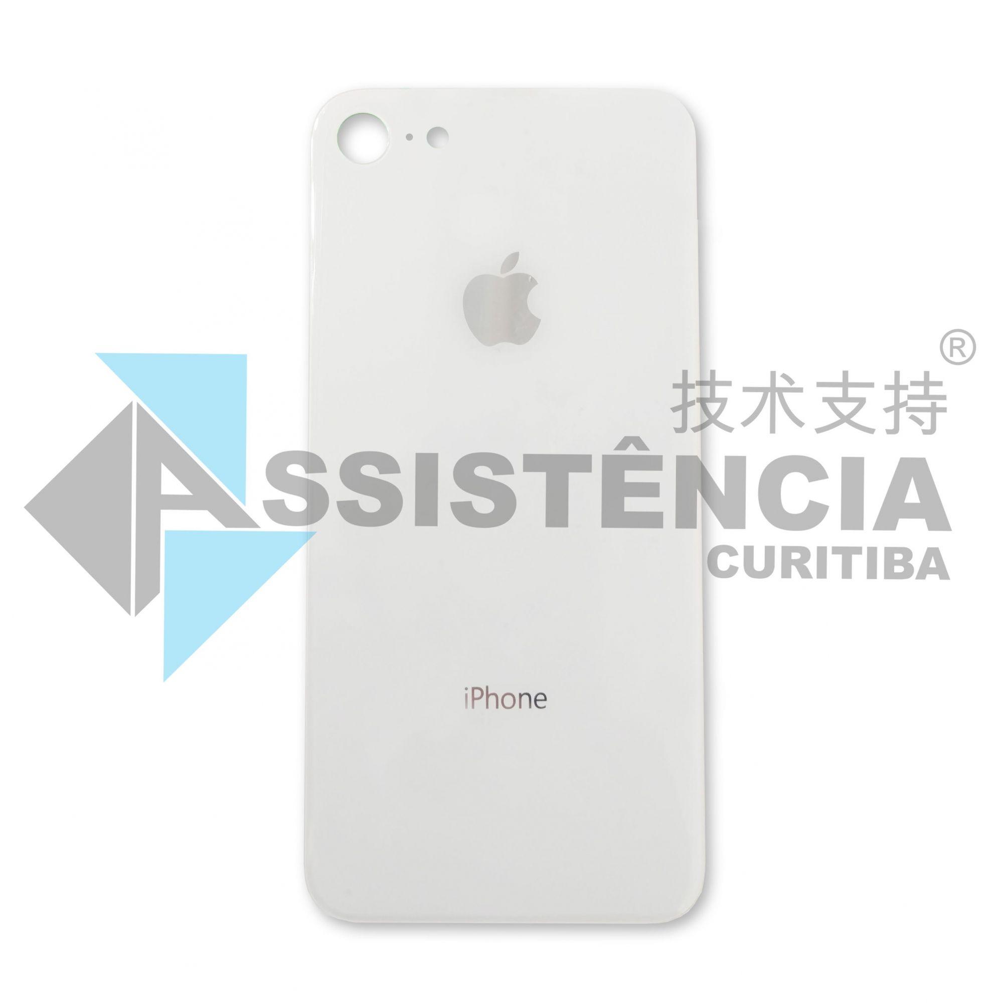 Tampa Traseira Apple Iphone 8 8G De Vidro Branca Com Lente