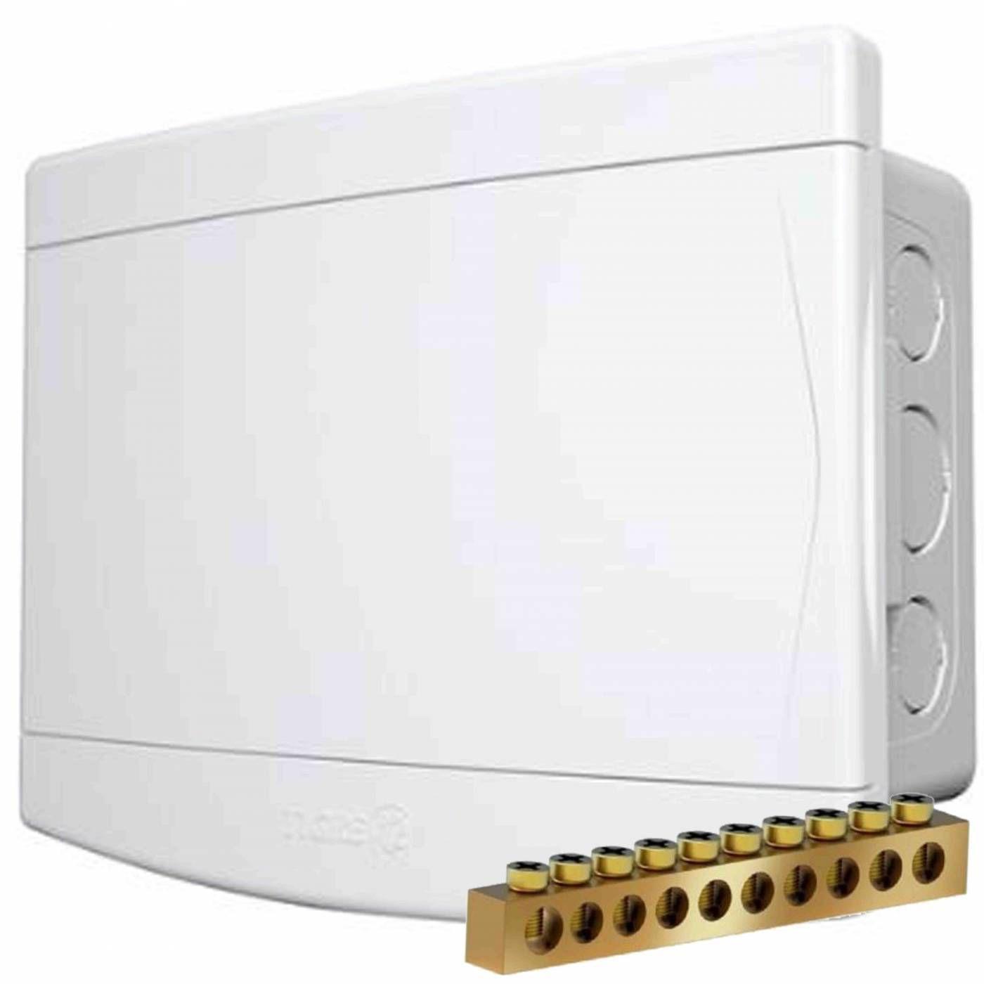 Caixa 6 Disjuntores Nema ou 8 Din de Embutir PVC Com Barramento - Tigre