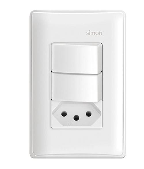 Interruptor Modular S19 2 seções + Tomada 10a Branco - Simon