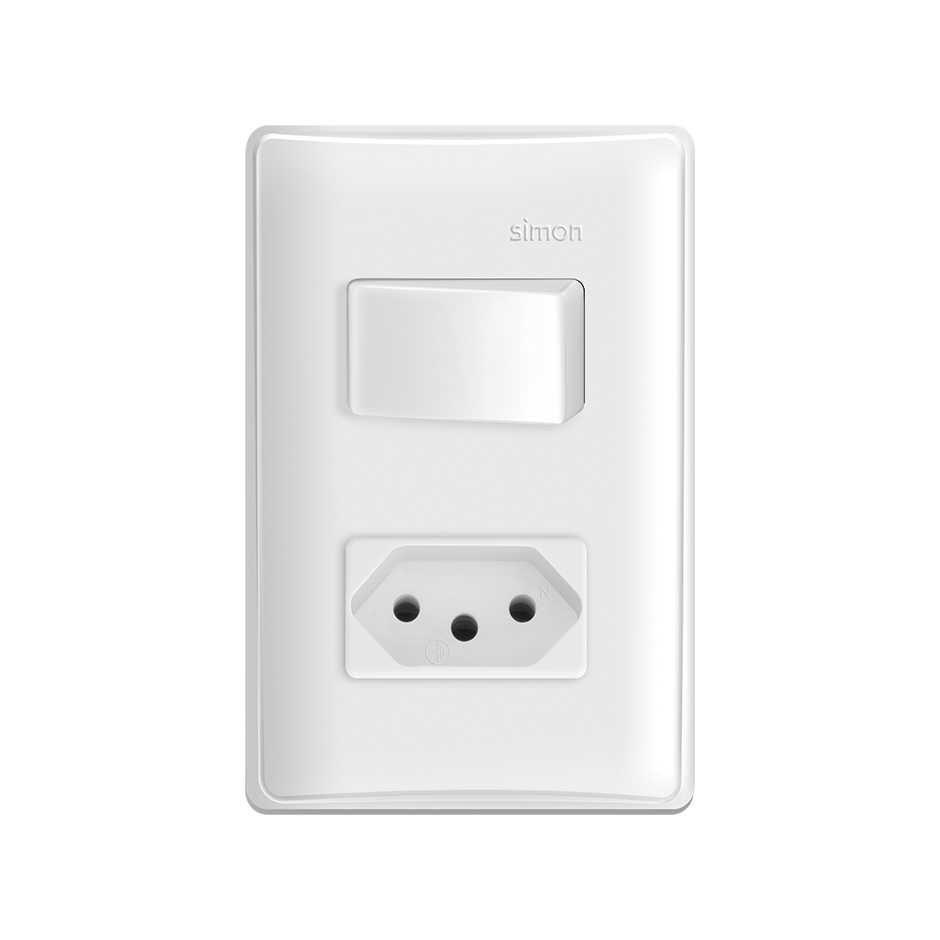 Interruptor Modular S19 1 Seção + Tomada 10a Branco - Simon
