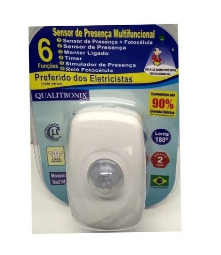 Sensor de Presença + Fotocelula 180 Branco - Qualitronix