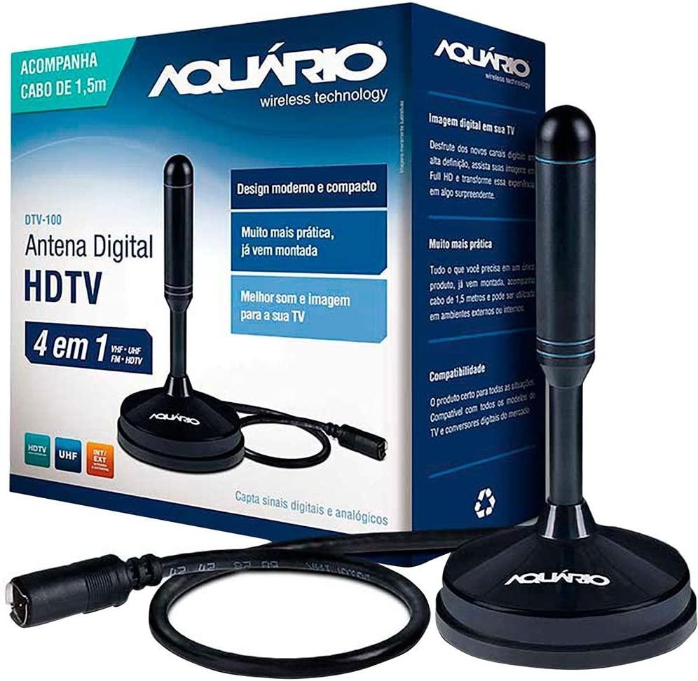 Aquario DTV-100 Antena Digital interna HDTV Cabo com Conector F Macho, Preto