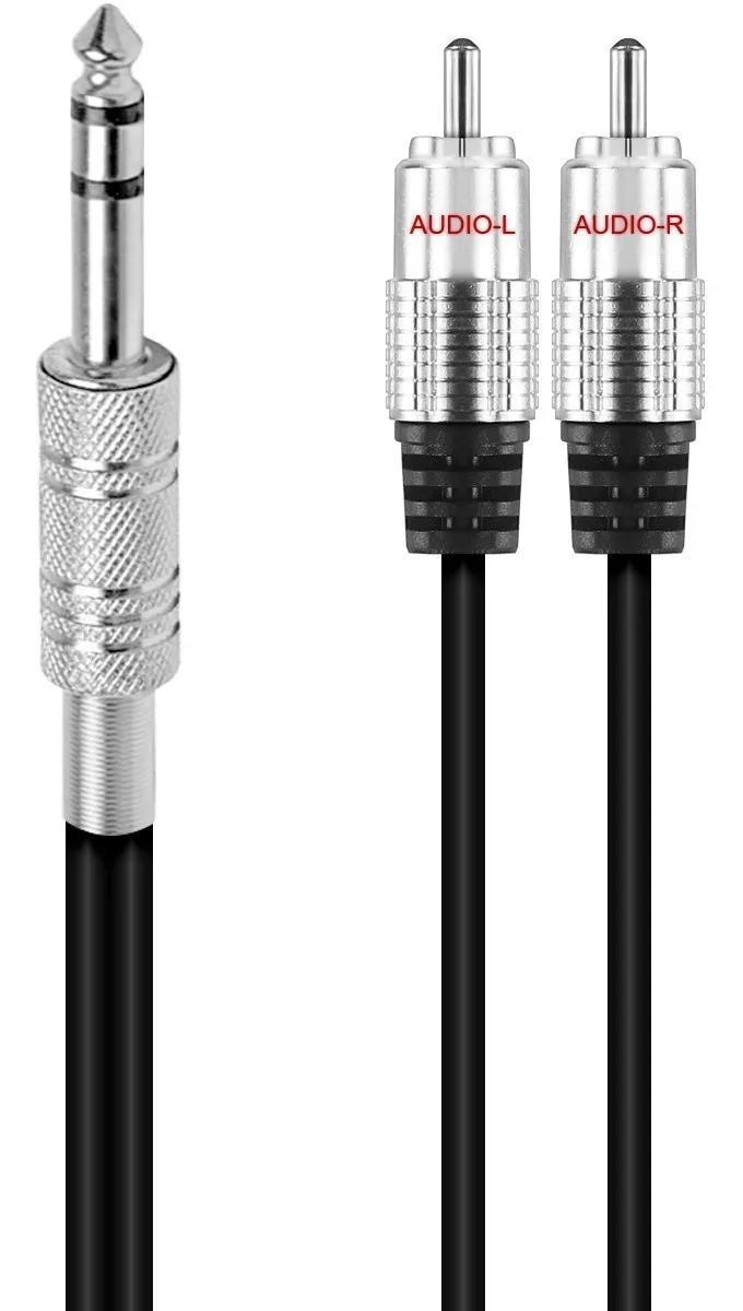 Cabo Audio 2 Rca 1 P10 Stereo Profissional Plug Ouro 1.5m