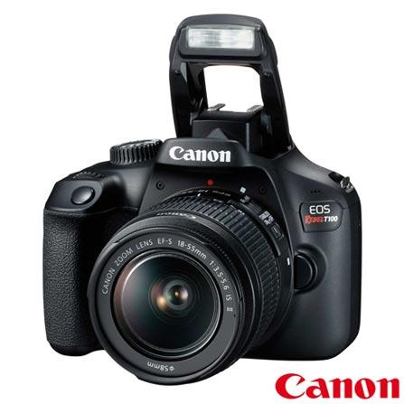 Câmera Canon EOS Rebel T100 DSLR com 18 MP, 3  Gravação em Full HD