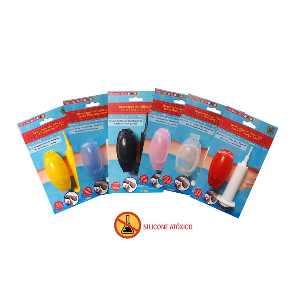 Bracelete de Biosegurança alcool em gel, hidratante, repelente coloridos