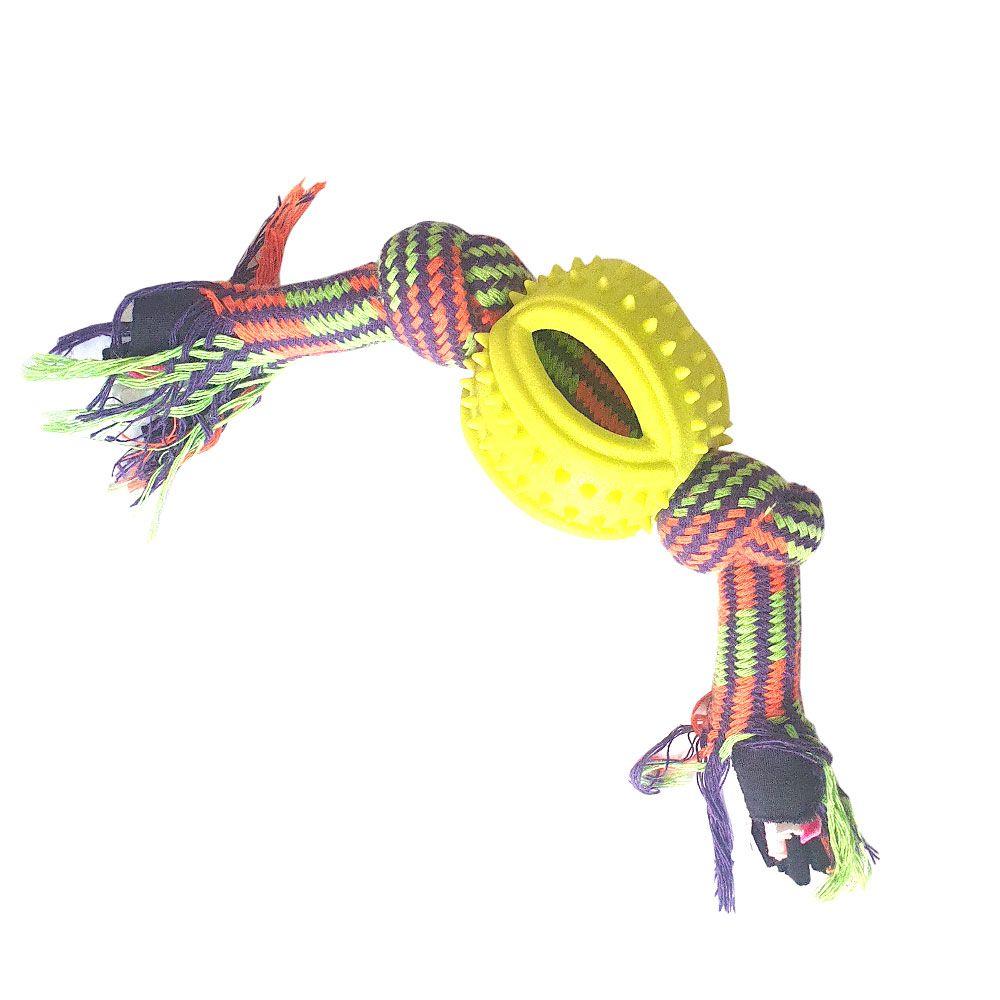 Brinquedo Pet Corda com bola Silicone
