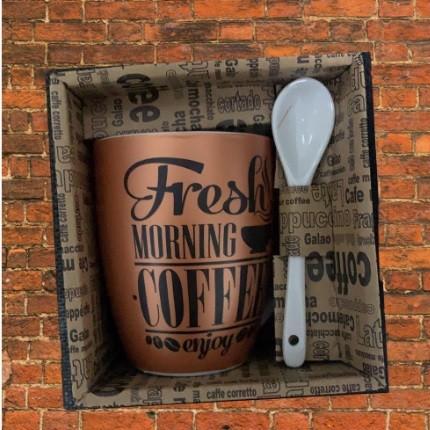 CANECA COM COLHER 340 ML FRESH COFFEE- MARROM