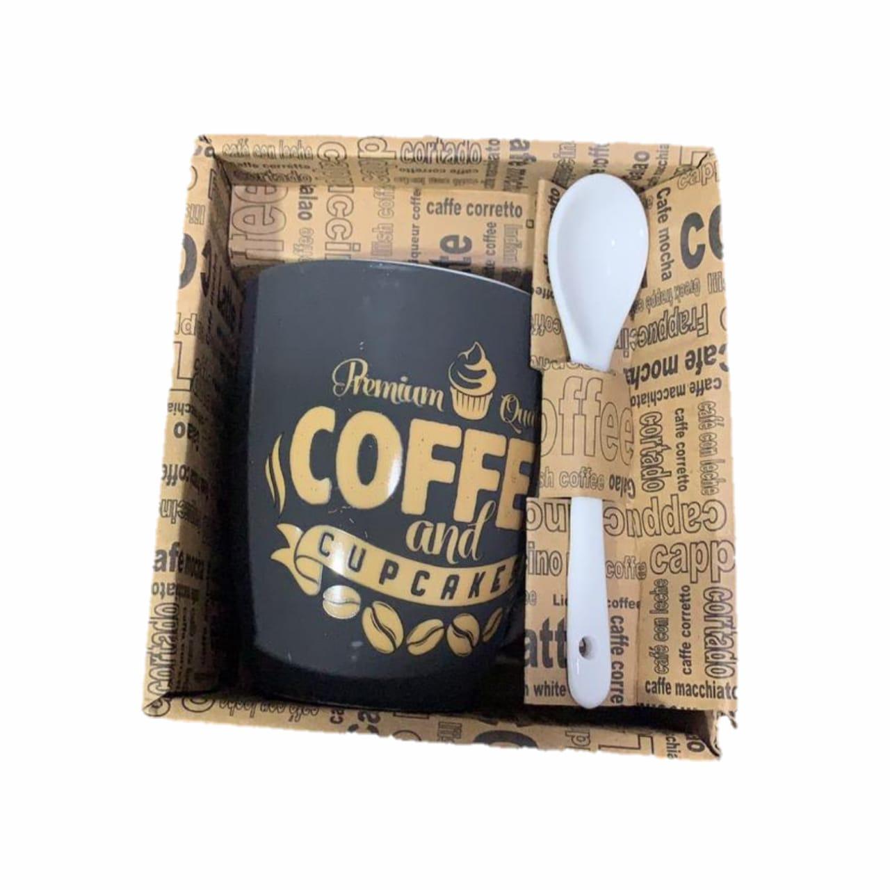 CANECA COM COLHER 340 ML FRESH COFFEE- PRETA