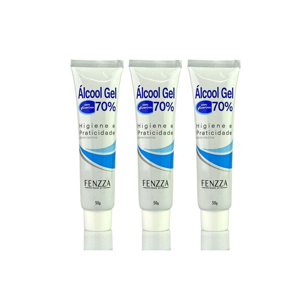 ALCOOL GEL 70% BISNAGA 50G FZ79006 3 unidades Fenzza