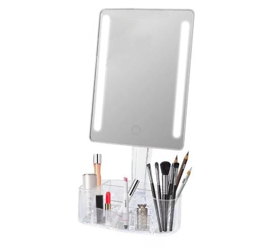Espelho com Led e com Base Organizadora em Acrílico Gbmax Branco